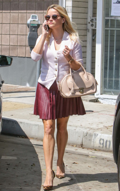 skirt pumps pleated skirt pleated shirt reese witherspoon sunglasses purse