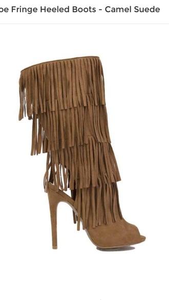 shoes fringes fringe heels heels high heels nude heels heeled boots
