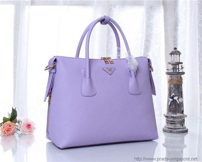 Parada Calf Leather Tote Grainy Lilac|prada Bag