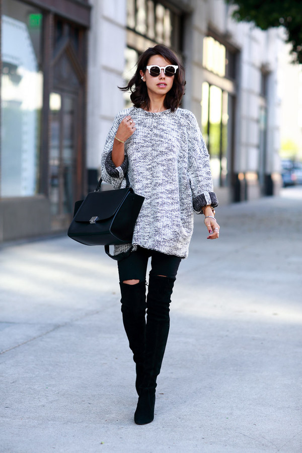 viva luxury blogger bag sunglasses knitwear ripped jeans blouse grey oversized sweater jumper rolled sleeves grey marl sweater