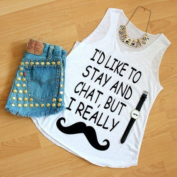 t-shirt moustache white