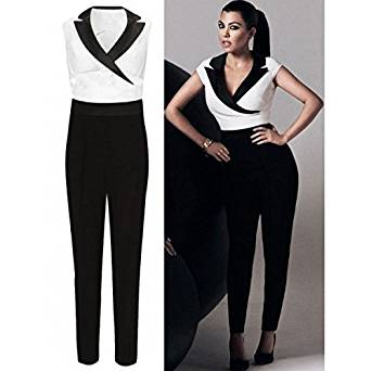8a94bd4c46aa LILY LULU Black and White Collared Jumpsuit Kim Jumpsuit (14 ...
