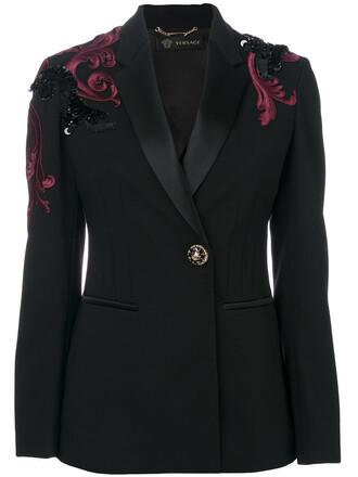 blazer embroidered women spandex black silk jacket