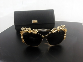 sunglasses gold vintage flowers black sunglasses vintage shoes accessory designer
