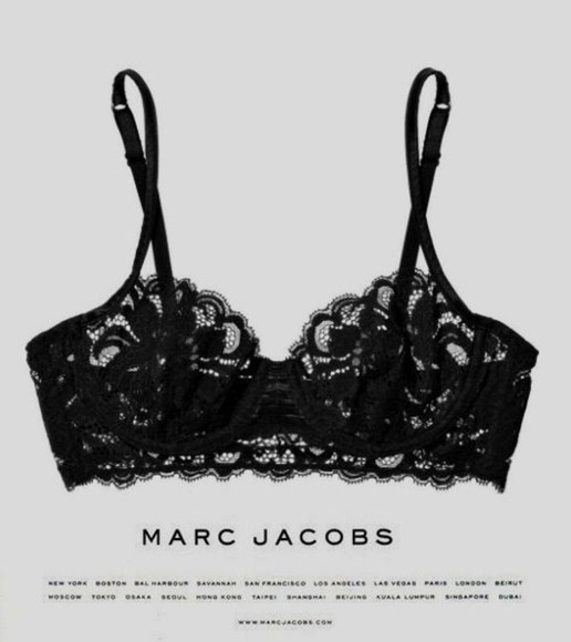 marc jacobs underwear black lace bra bralette hot black lace