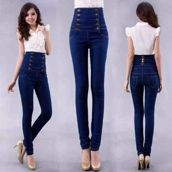 Hot Women's High Waist Skinny Blue Breasted Jeans Plain Coloured ...
