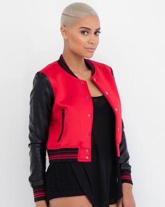 jacket bomber jacket varsity jacket red red and black red jacket red and black jacket