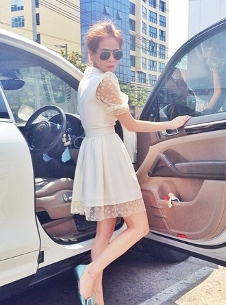 dress white white dress cars wanna have fun pink flowers