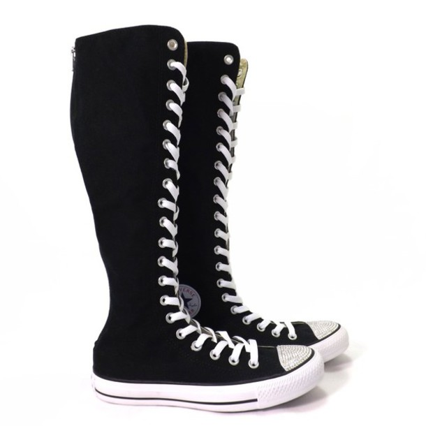 Women Black Punk EMO Rock Gothic zipper Lace up boot shoe sneaker knee high. Find this Pin and more on My Style by Author Marisa. Converse boots are the coolest! need a pair of these knee high converse.