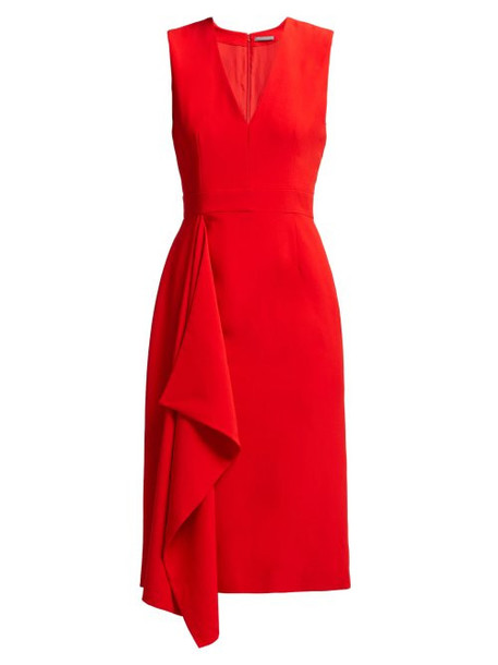 Alexander Mcqueen - Waterfall Draped Crepe Midi Dress - Womens - Red