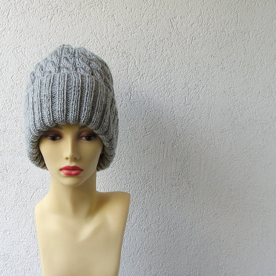 cable knit hat slouchy women / men grey Slouchy by AlbadoFashion