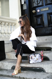 shoes,hun,tumblr,pants,black pants,cropped pants,top,white top,ruffle,ruffled top,bell sleeves,bag,printed bag,sandals,sandal heels,high heel sandals,gold sandals,mules,gucci mules,sunglasses