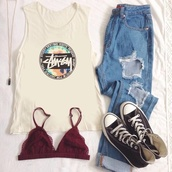 t-shirt,stussy t-shirt,ripped jeans,red underwear,black converse,jeans,top,underwear