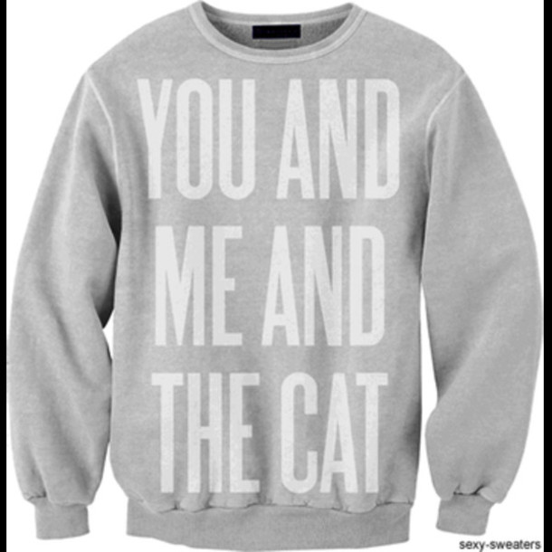 sweater cute cats grey white you and me