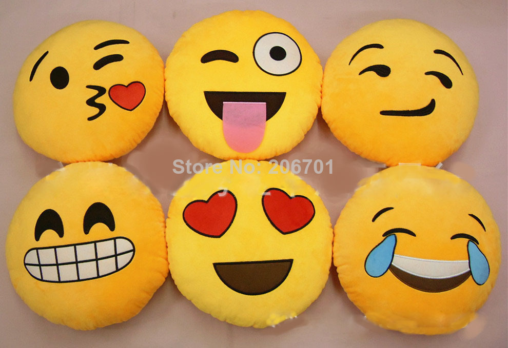 iPhone Emoji Smiley Emoticon Yellow Round Cushion Pillow Soft-in Pillows from Home & Garden on Aliexpress.com