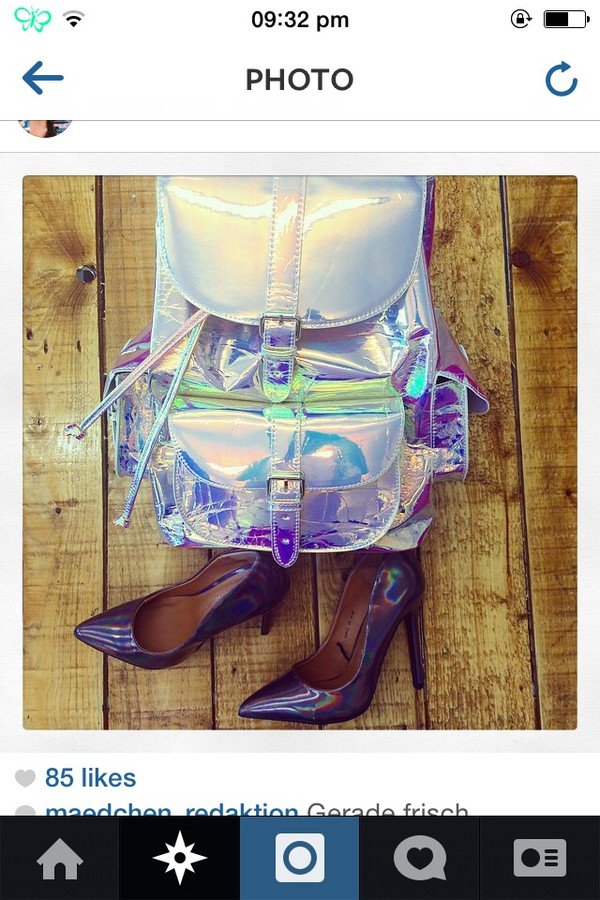 bag holographic backpack shiney