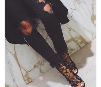 shoes high heels plateau women hot jeans stripes fashion