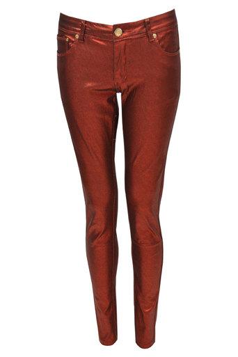Brea Metallic Wet Look Jeans In Red - Pop Couture