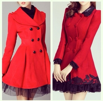 coat red hot jacket belt cold sexy