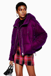 jacket,puffer jacket,velvet,purple