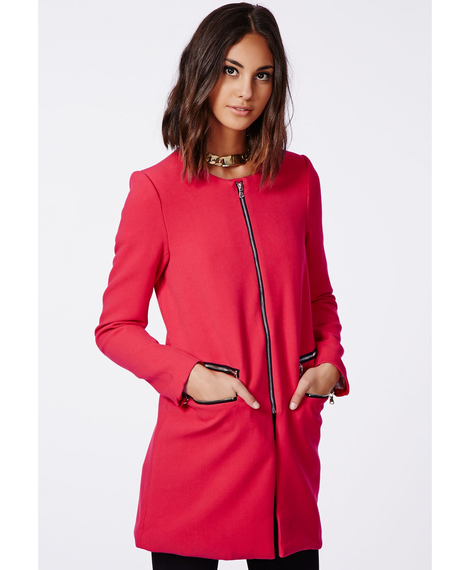Missguided - Jenelle Zip Detail Collarless Jacket Rouge