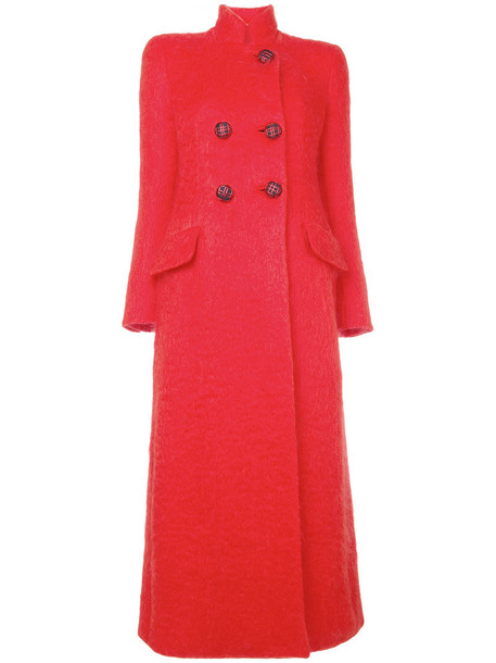 coat double breasted long women mohair silk wool red
