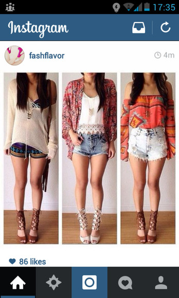 orange blouse blouse denim shorts