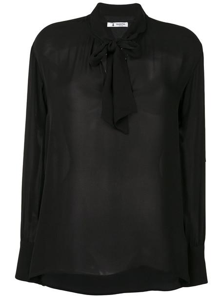 BARENA blouse bow women black silk top