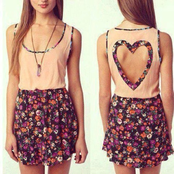 dress floral dress teenagers pink dress heart cutout pastel floral cut-out heart pretty girly jumpsuit cute dress daily dress