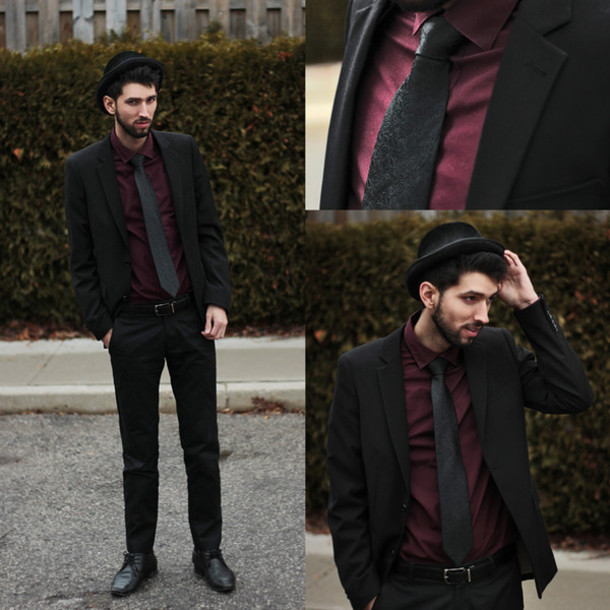 bobby raffin blogger tie mens suit burgundy jacket dress pants