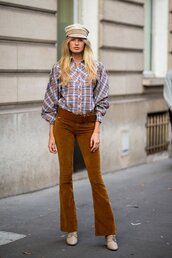 top,shirt,plaid,romee strijd,model off-duty,fall outfits,fall colors,streetstyle,boots,pants
