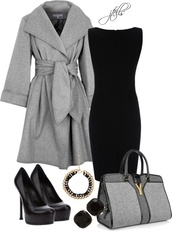 jacket,grey coat,little black dress,purse,black dress,stilettos,coat,high heels,black high heels,dress,bag,grey and black,shoes,black suede,winter outfits