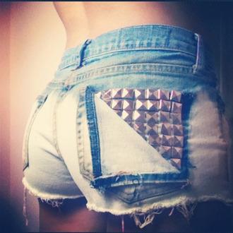 shorts hotpants denim shorts studs silver studded