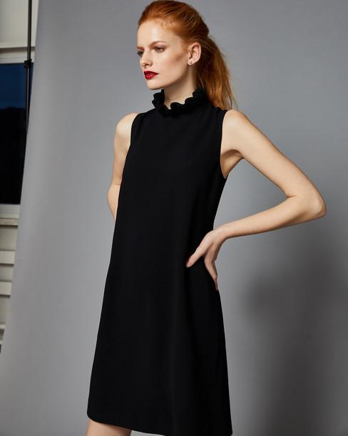 Ted Baker dress ruffle dress high ruffle high neck black