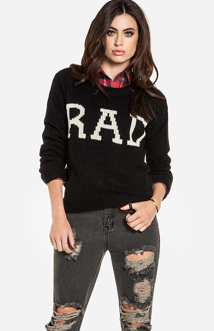 Dailylook: rad high low sweater in black xs / s