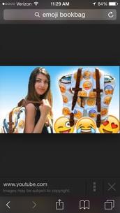 bag,emoji print,iphone,youtube,face,nails,faces,music,sack,bookbag,backpack