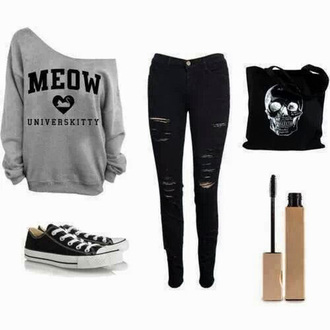 jeans grey sweater converse vans black ripped jeans skull mascara back to school glow in the dark grunge creepy