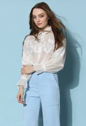 top,chicwish,chicwish.com,Flower Mist Embroidered Top in White,sheer top,organza top