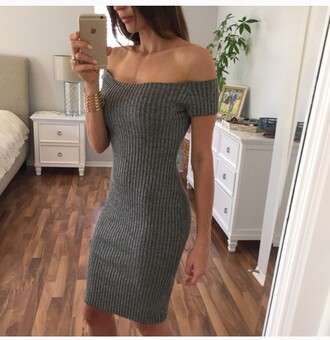 dress grey ribbed minimalist open shoulder boat neck grey dress ribbed dress sexy sexy dress fall outfits fall dress sweater dress sweater