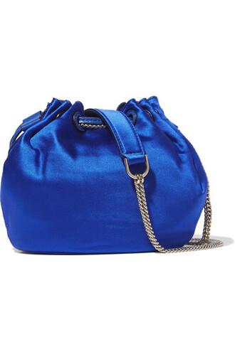 mini love bag bucket bag leather blue satin