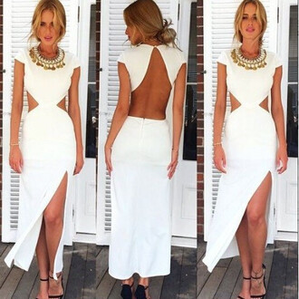 dress white dress cut-out dress slit dress