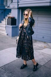 dress,winter date night outfit,date outfit,date dress,midi dress,black midi dress,black dress,black lace dress,lace dress,shoes,black shoes,flats,black leather jacket,leather jacket,jacket,black jacket,sunglasses