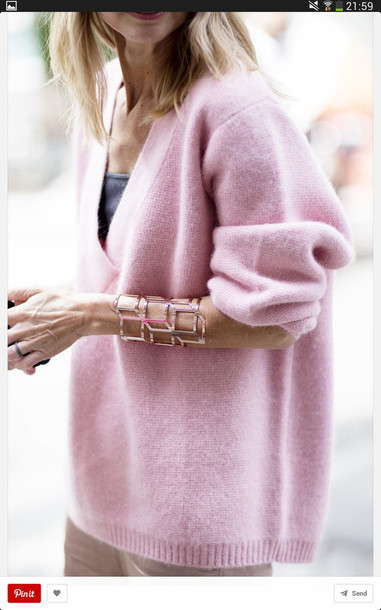 sweater pink jumper knitted sweater pastel oversized sweater v neck