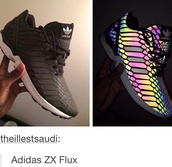shoes,adidas,sneakers,black,xeno,glow in the dark,snake,reflection,light,adidaszxflux,addas