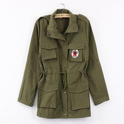 Hooded drawstring green army jacket