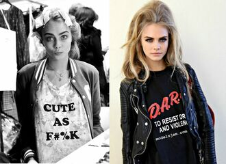 shirt cara delevingne blonde hair victoria's secret model haute couture preppy graphic tee casual rock asos
