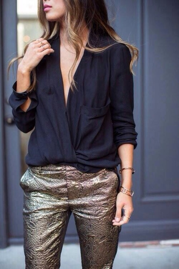 blouse black open front pants gold clothes golden pants print textured shiny mettalic slacks pattern