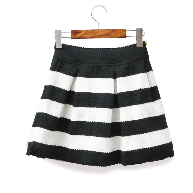 High Waist Black & White Striped Scalloped Hem Skater Skirt