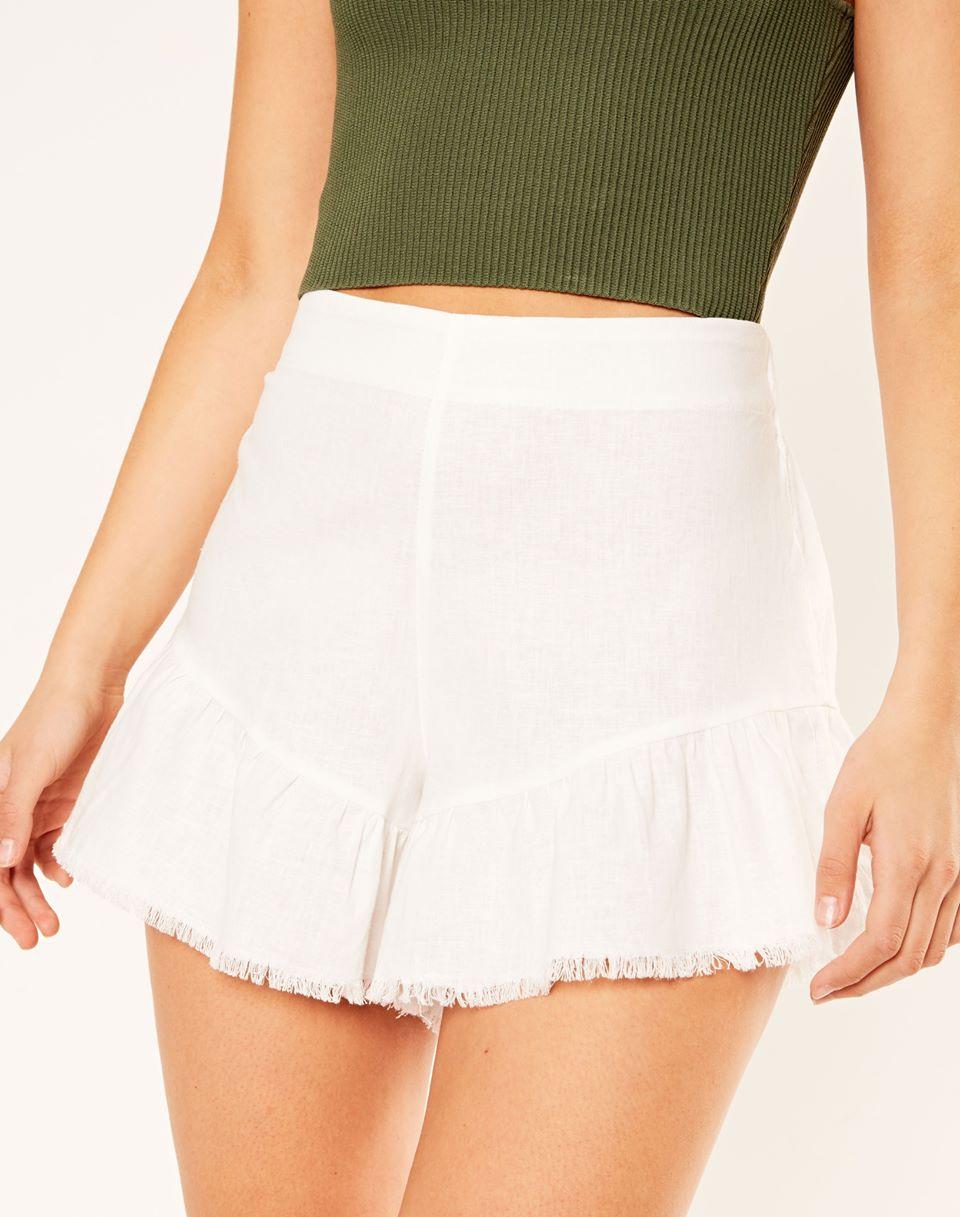 Linen Blend Raw Hem Shorts
