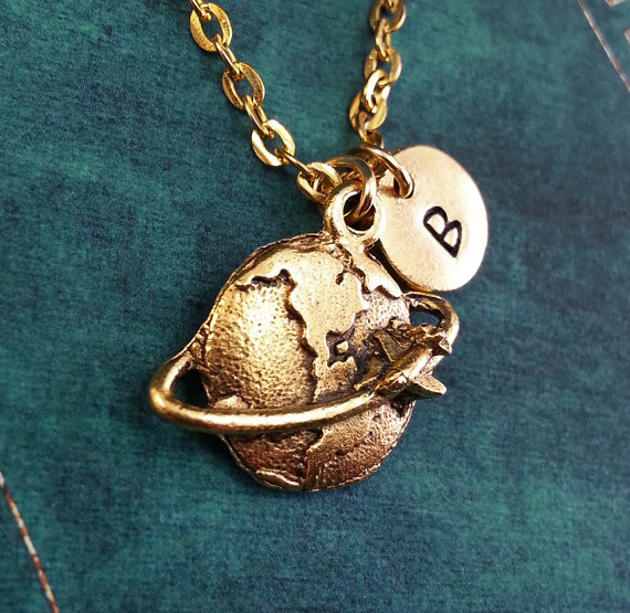 Globe Necklace Gold World Necklace Gold Travel by MetalSpeak